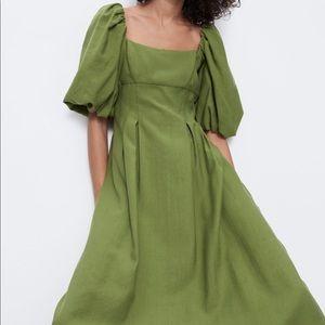 NWT Green Puff-Sleeve Zara Dress